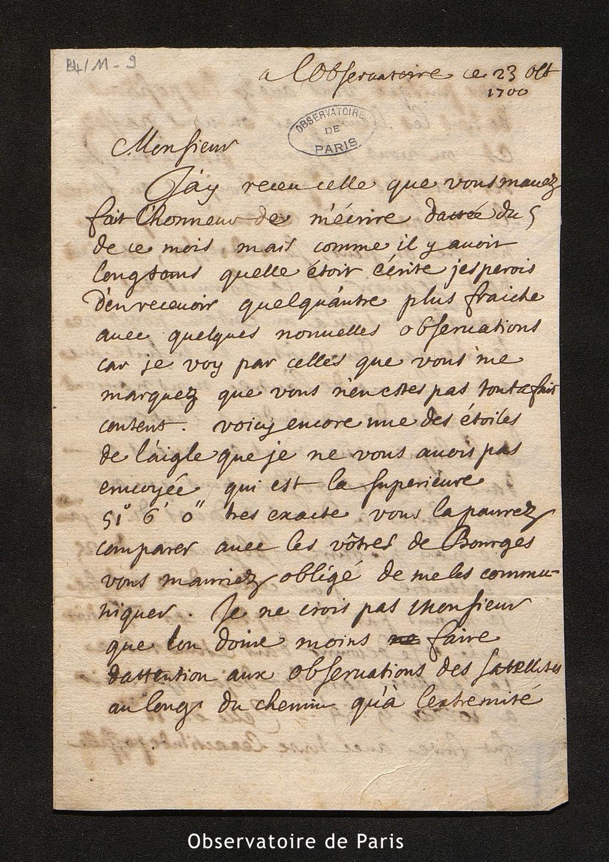 Lettre de La Hire à Cassini I, l'Observatoire le 23 octobre 1700