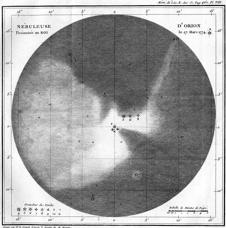 Nébuleuse d'Orion, tirée des Mémoires de l'Académie royale des sciences de 1771