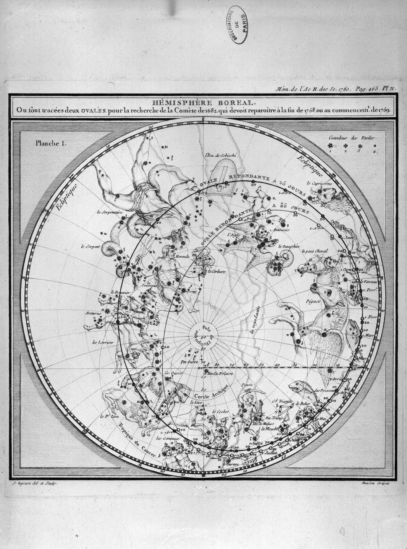 Carte de la comète de Halley, tirée des Mémoires de l'Académie royale des sciences de 1760