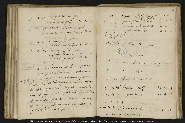 [Journal des observations faites à l'Observatoire de Paris et au château de Thury],7 mars 1698 - 25 mai 1699
