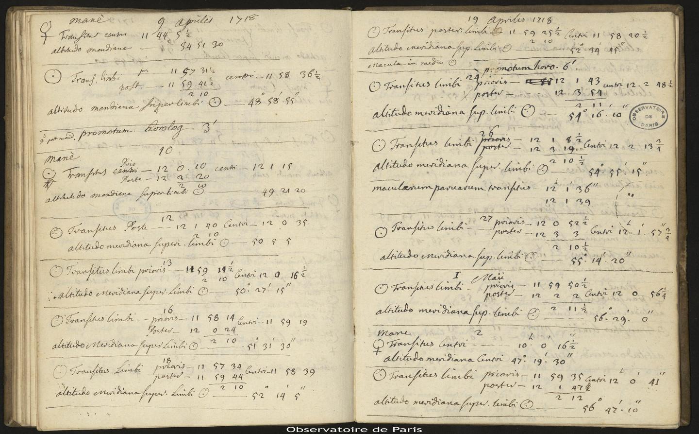 [Journal des observations faites à l'Observatoire de Paris],25 août 1715 au 19 mai 1719