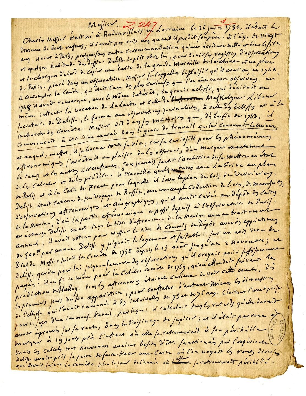 Biographie de Charles Messier par Delambre
