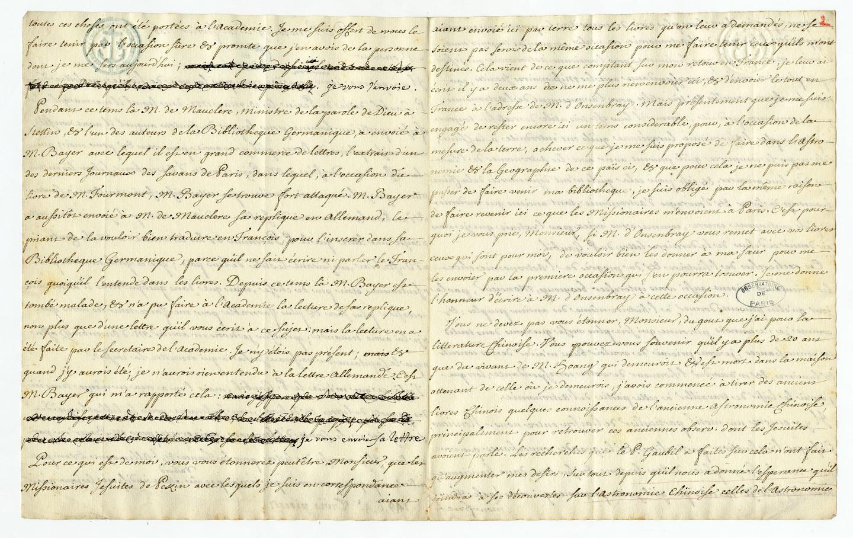 Lettre de Joseph-Nicolas Delisle à Nicolas Fréret