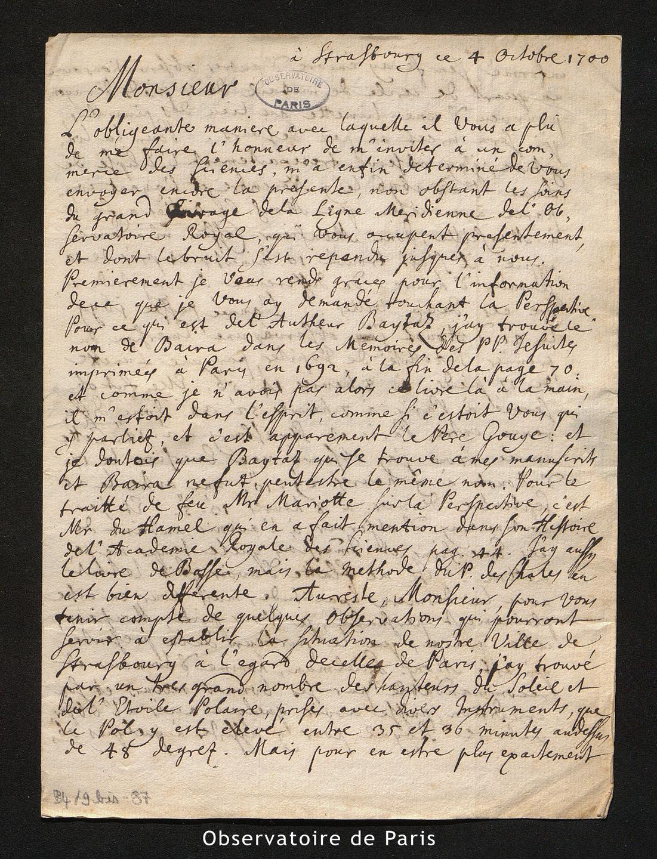 Lettre de Eisenschmidt à La Hire, Strasbourg le 4 octobre 1700