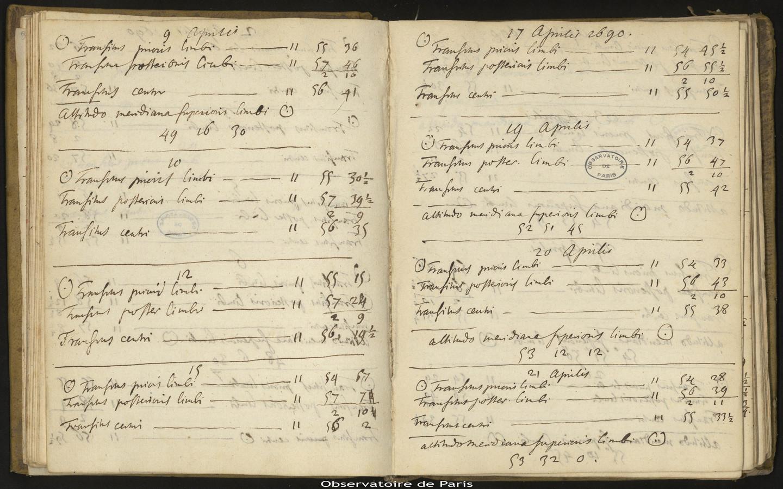 [Journal des observations faites à l'Observatoire de Paris],1er mai 1689 au 23 septembre 1693