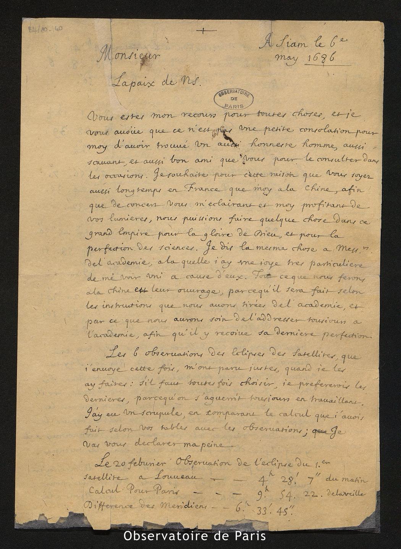 Lettre de Jean de Fontaney à Cassini