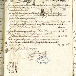 Lettre de Charles Messier à Jean-Dominique Maraldi