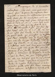Lettre de La Hire à Cassini I, Dunkerque le 3 novembre 1681
